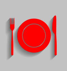 Fork tape and knife sign red icon with vector