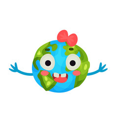 funny smiling cartoon earth planet emoji with red vector image vector image