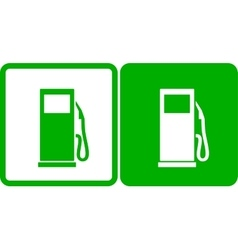 Green transport gas station icons vector