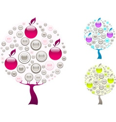 Grey purplr and green trees vector image
