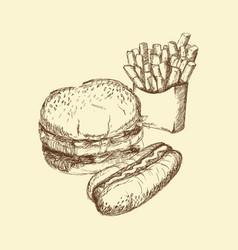 Hand drawn burger hot dog french fries food vector