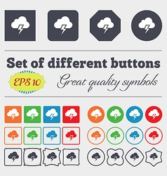 Heavy thunderstorm icon sign big set of colorful vector