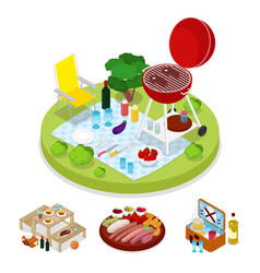 Isometric bbq picnic party summer holiday camp vector