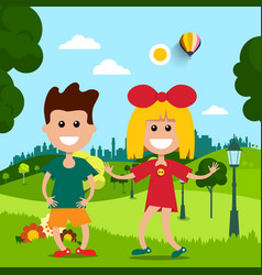 Kids in park flat design scene vector