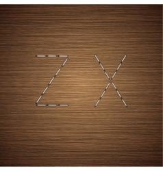 Modern staples alphabet on wooden vector