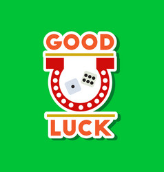 Paper sticker on stylish background good luck logo vector