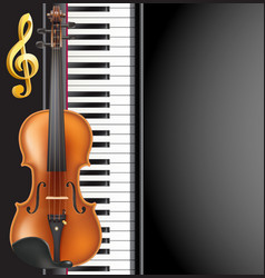 piano and violin realistic musical instruments vector image vector image
