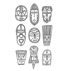 Set of hand drawn ethnic masks of the characters vector