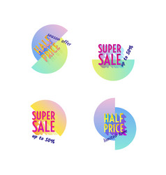 Set of modern neon sale stickers badge for online vector