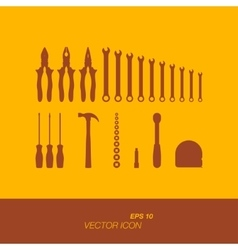 Set of silhouette tools icon in flat style vector image