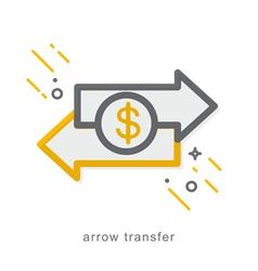 Thin line icons arrow transfer vector