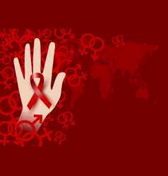 world aids day design of red ribbon on hand vector image vector image