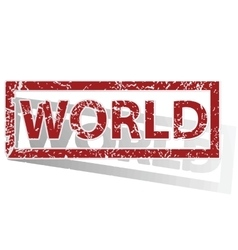 World outlined stamp vector