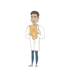 Young hispanic pediatrician holding teddy bear vector