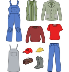 Worker plumber man woman fashion set vector