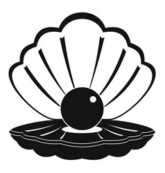 Pearl in a sea shell icon simple style vector