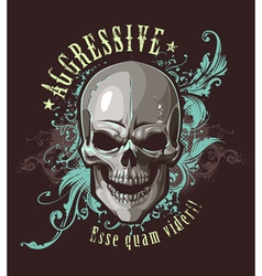 Grunge image with skull vector