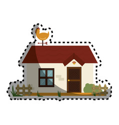 Stable building farm icon vector
