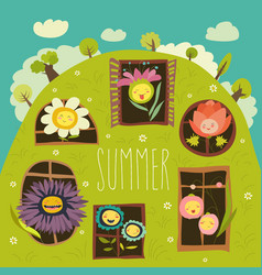 Cute summer flowers looking out of windows vector