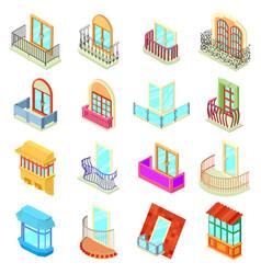 Balcony window forms icons set isometric style vector