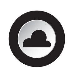 Round black white button - weather cloud cloudy vector