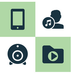 Music icons set collection of broadcast media vector
