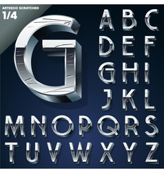 Silver chrome or aluminum 3d alphabet vector