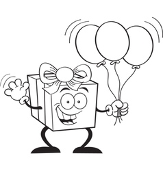 Cartoon gift holding balloons vector