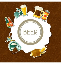 Background design with beer sticker icons and vector