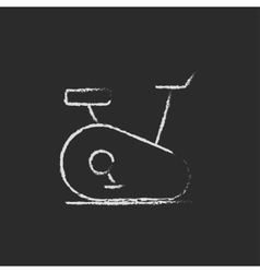 Exercise bike icon drawn in chalk vector
