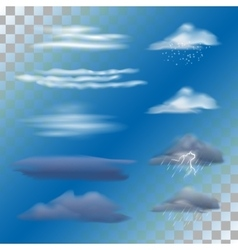Set of transparent clouds vector