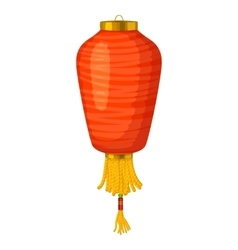 Red chinese paper lantern icon in cartoon style vector