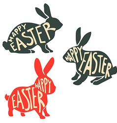 Set of easter rabbit silhouettes with lettering vector