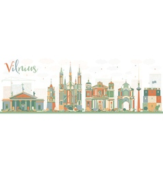 Abstract Vilnius Skyline with Color Landmarks vector image vector image