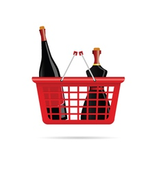 basket with bottle of wine color vector image