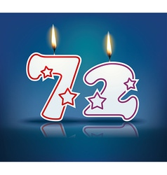 Birthday candle number 72 vector image