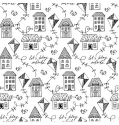 Black and white seamless pattern with vector