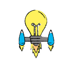 Bulb with thrusters to creative idea vector