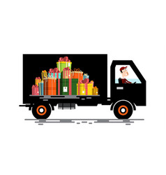 Car with driver and gift boxes pile cargo vehicle vector