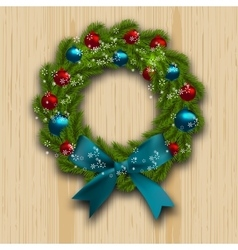 Christmas and new year wreath green branch of fir vector