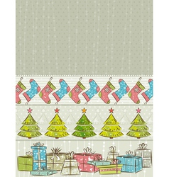 color background with christmas present trees vector image