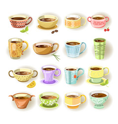 Cups with various colorful print set on white vector