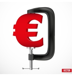 Currency symbol euro being squeezed in a vice vector