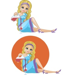 Cute young caucasian woman in cocktail dress vector