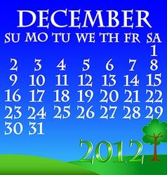 December 2012 landscape calendar vector