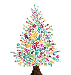 Diversity christmas tree hands isolated vector