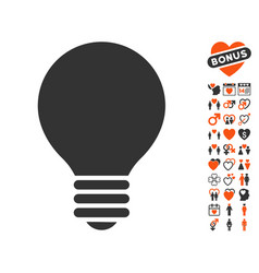 electric bulb icon with love bonus vector image vector image