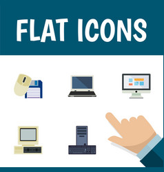 Flat icon laptop set of processor computer vector