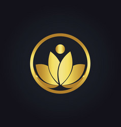Gold beauty lotus flower woman logo vector