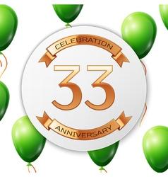 Golden number thirty three years anniversary vector